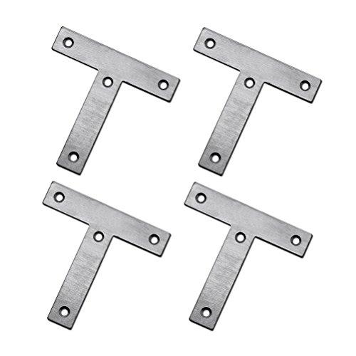 OUNONA 10pcs T-Form 60mm * 60mm Stahl-Ecken-Winkel-Halter-Klammer-feste Platten-Verbindungsstück-Reparatur-Blatt -