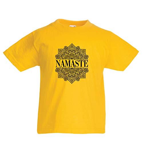 en/Mädchen T-Shirt Meditation Yoga Namaste Mandala Zen Geistiges Geschenk für Yogi (7-8 Years Gelb Mehrfarben) ()