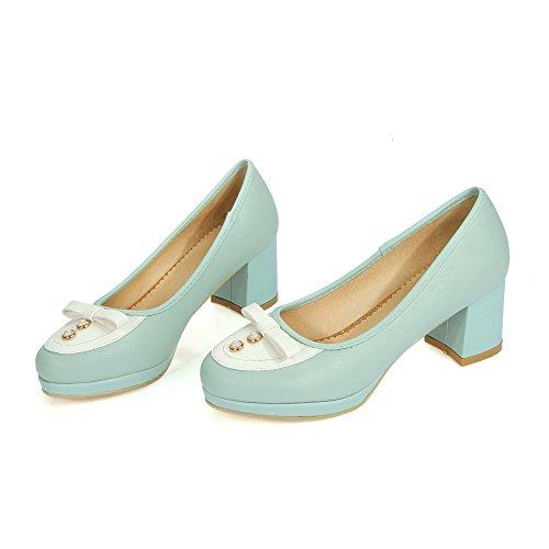 AllhqFashion Damen Mittler Absatz Gemischte Farbe Ziehen Auf Rund Zehe Pumps Schuhe Blau