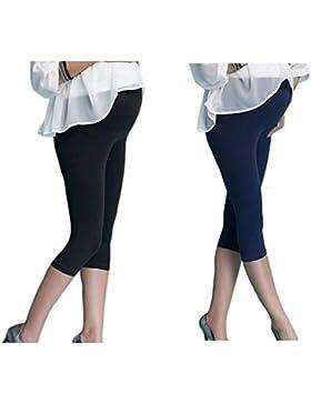 Pack da 2 Premaman Leggings 3/4 Maternità Fuseaux Capri di cotone, 7 colori