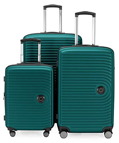 HAUPTSTADTKOFFER - Mitte - Set di 3 valigie - bagaglio a mano da 55 cm, valigia media da 68 cm, valigia grande da 77 cm, in ABS rigido, TSA, Turchese