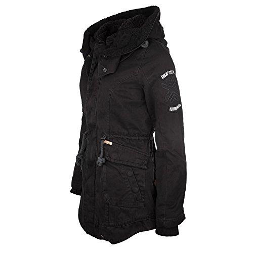 Khujo Havanna Damen Mantel schwarz - Winterjacke im Parka Stil - 1546JK153-200 (S)