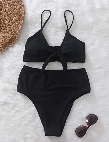 Xunyu Damen Bikini-Set, hoch taillierter Badeanzug, Push-up Badeanzug mit Knoten-Optik, zweiteiliger Badeanzug -  Grau -  Medium - 2