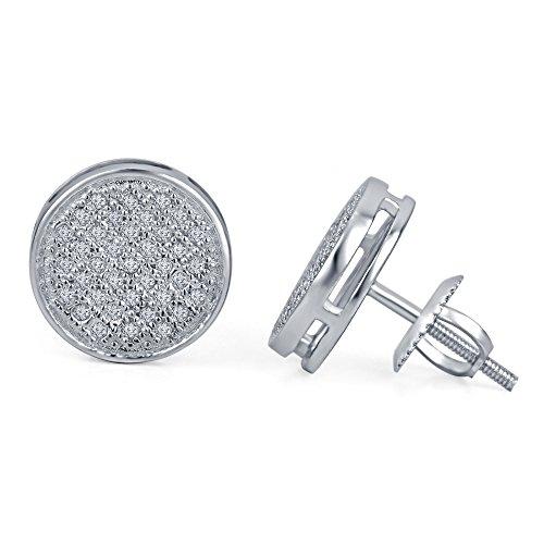 lilu Jewels superbe coupe ronde Blanc Véritable Diamant Blanc Boucles d'oreilles rondes à vis arrière White Platinum Plated