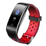 Bainuojia Fitness Armband Uhr mit Pulsmesser Wasserdicht Fitness Tracker Aktivitätstracker Pulsuhren Smartwatch Fitness Uhr Schrittzähler Armbanduhr mit Schlafmonitor für iPhone Android Handy (Red)