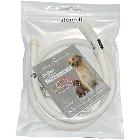 LED Collar de perro carga USB parpadea luz luminoso Collar del animal dom¨¦stico Collar de Seguridad Dorsal Para Perros Tubo ajustable longitud LUCKLY