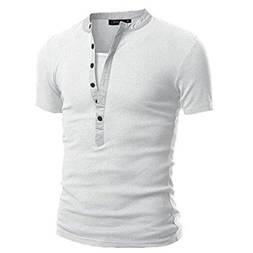 Aulei Herren Casual Polo Shirt Tops T-shirt Hemd Oberteil Kurzarmshirt Weiß