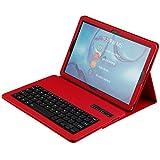Big-Mountain Leder Case Cover Für Huawei MediaPad M5 10.8 Pro | schützende Smart Case mit Abnehmbarer Bluetooth-Tastatur Fall Abdeckung | Leder-Etui Telefon Litchi Textur Hülle (Rot)