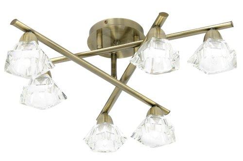 Oaks Lighting Alamas Lustre avec finition laiton antique avec lampes en verre cristallin K9