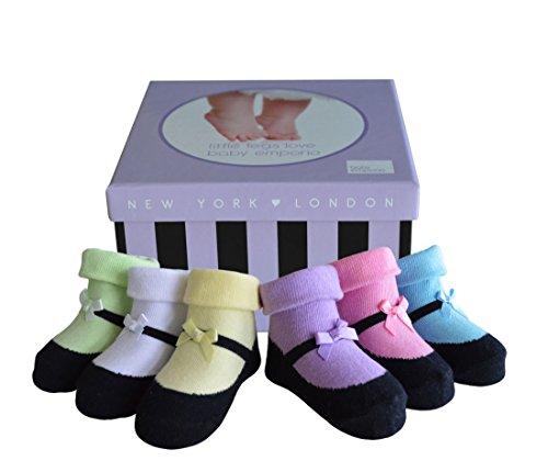 Baby Emporio - Baby Anti-Rutsch-Socken im Schuh-Design für Mädchen - weiche Baumwolle - mit Geschenkkarton - 6 Paar - 0-9Monate - Mary Jane Stiefel (Schuh-design-socken)