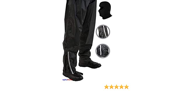 4XL//42 MENS WATERPROOF TROUSER VIPER MOTORCYCLE MOTORBIKE OVER TROUSERS RAIN PANTS ALL SEASON HIKING CYCLING CARRY CASE BLACK AND BALACLAVA