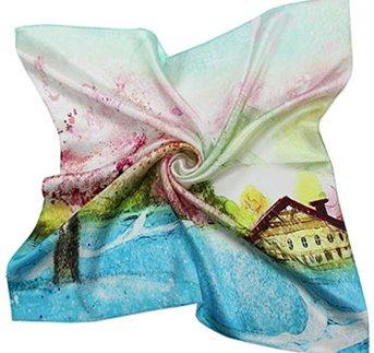Helan femmes Réel Soie Naturelle 53cm X 53cm petits foulards de soie carrés Printemps