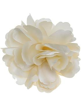 TOOGOO(R) Frauen Maedchen Satin Pfingstrosen-Blumen-Haar-Klipp-Brosche - Beige