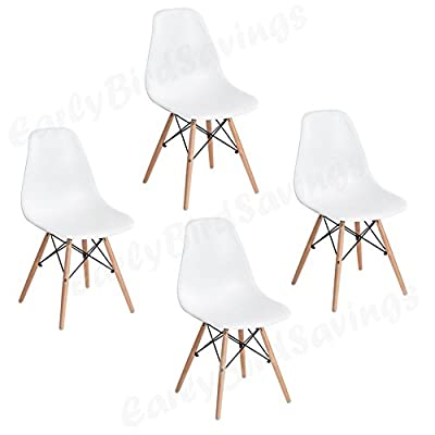 Earlybird Savings Set of 4 Dining Lounge Chairs Coffee Chairs for Simple Style Life - low-cost UK chair shop.