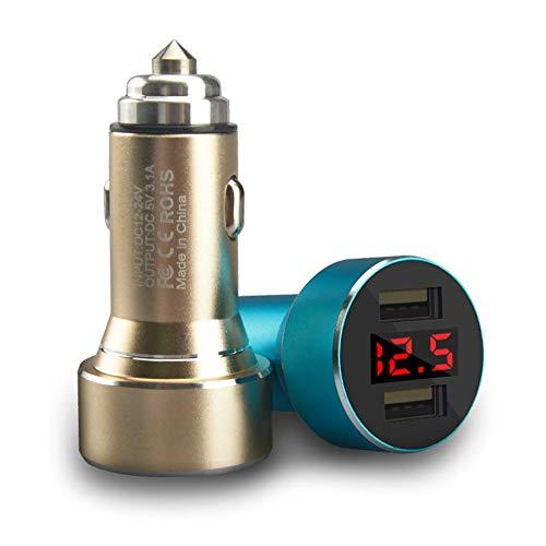 RoadRoma Display Digitale Caricabatteria da Auto Doppio USB Caricatore per Auto in Lega di Alluminio Caricatore per Auto-Blu