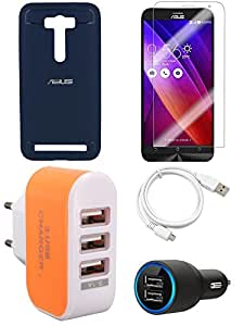 NIROSHA Tempered Glass Screen Guard Cover Case Car Charger USB Cable Charger for ASUS Zenfone Laser 2 ZE500KL - Combo