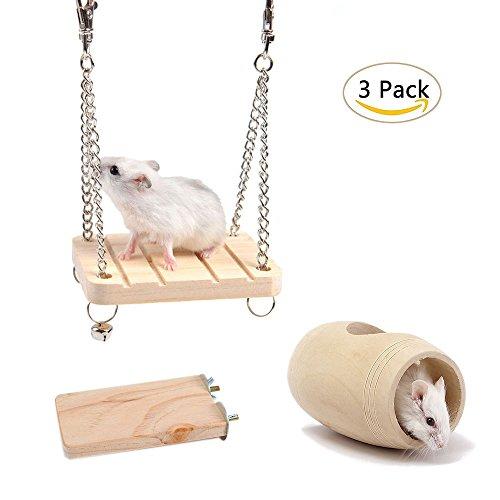 achte Hamster Toys, natürliche Tunnel Tube Cage & Holz Gangplank stehen Plattform & Hamster Schaukel mit Glocke für kleine Tier Hamster Chipmunks Papagei Spielzeug (3er Pack) (Ideen-halloween-lebensmittel)