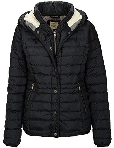BASEFIELD 229005602 Damen Komfort Kapuzensteppjacke mit kuscheligem Fell warm, Groesse 40, Marine