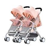 Xiaoping Rueda de Goma El Cochecito Doble se Puede sentar y Desmontable Ultra-Ligero portátil Absorción de Impactos Plegable Carro for niños recién Nacidos (Color : 2)