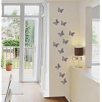 ilka parey wandtattoo-welt Adhesivos decorativos en 3D para pared (12 unidades), diseño de mariposas, color gris M1085