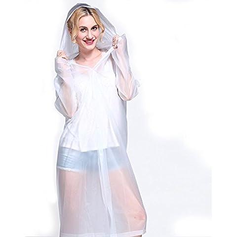 FosFun Moda EVA impermeable con capucha para hombres y mujeres ropa impermeable al aire libre impermeable poncho sobre longitud de la rodilla capa de lluvia