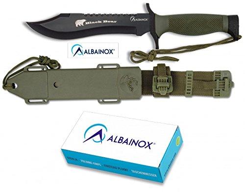 ALBAINOX 31766 - Cuchillo de Supervivencia, Modelo Black Bear, Funda Nylon-PVC Rígida, Unisex Adulto, Multicolor, Talla Única