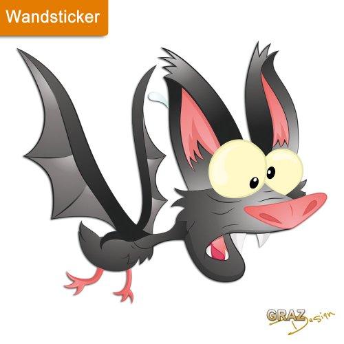 Sticker Wandaufkleber Wandsticker für Wohnzimmer Fledermaus verrückt crazy (47x40cm) (Verrückte Halloween Dekoration)