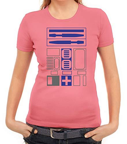 Robot Karnevals Faschingskostüm Damen Frauen T-Shirt Rundhals Roboter Kostüm, Größe: XXL,rosa (Roboter Kostüm Frauen)
