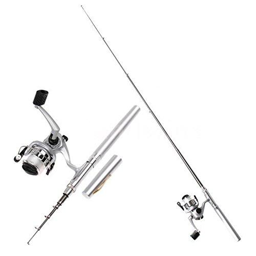 yuneody 1m Tragbarer Rod Spinning Pen Pocket Nützliche Angeln Golden Carbon Outdoor Reel Pole (Reel Carbon Baitcast)