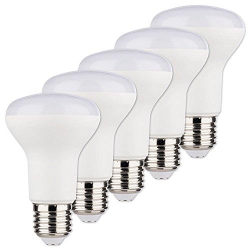 5 X 8 Licht (MÜLLER-LICHT 5er-SET LED Reflektor ersetzt 60 W, Plastik, E27, 8 W, Weiß, 6.3 x 6.3 x 10 cm, 5 Einheiten)