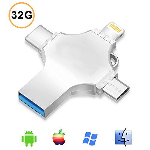 32 gb iphone flash drive chiavetta usb - thumb unità flash con connettore lightning type-c micro usb (4 in 1) per iphone ipad e computer