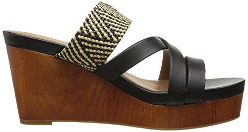 Lucky Brand Nyloh Leder Keilabsätze Sandale Black/Natural/Black