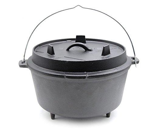 Santos Gusseisen Dutch Oven - 8,5 Liter, 6-8 Personen, ca. 9 Qt. mit Füßen- Feuertopf Schmortopf Camp Oven für Gasgrill Kohlegrill und offenes Feuer