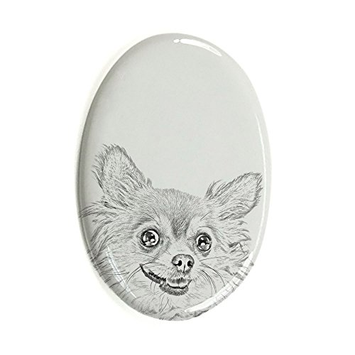 Chihuahua langhaariger, Oval Grabstein aus Keramikfliesen mit einem Bild eines Hundes