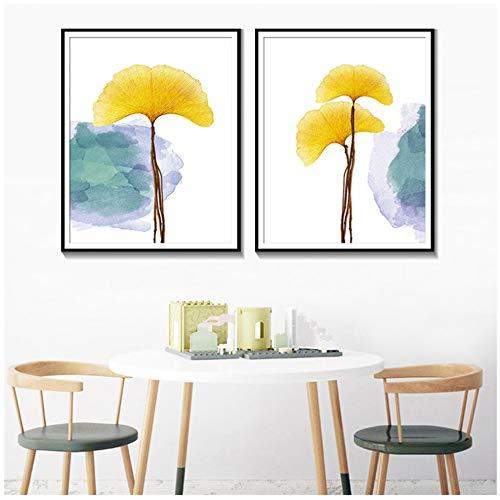 Druck auf Leinwand Botanical Ginkgo Wandkunst Bilder Poster Aquarell Home Decoration Painting-50x70cm No Frame