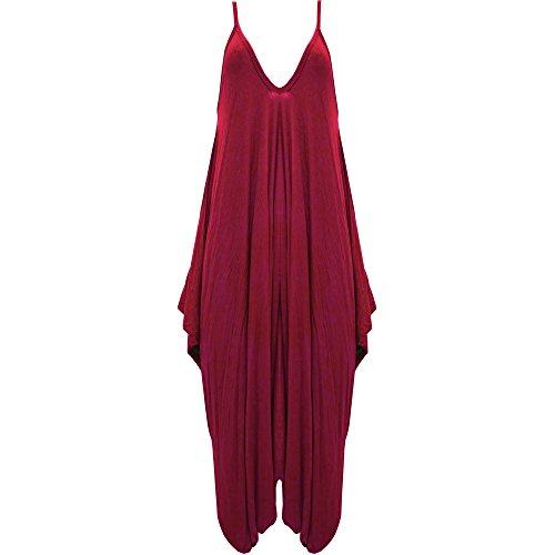 Damen Hareems V Ausschnitt Harems Kleid Einteiler Hausanzug Strampler Damen Übergröße Wine - New Baggy Romper Jumpsuit Strappy Deep Neck