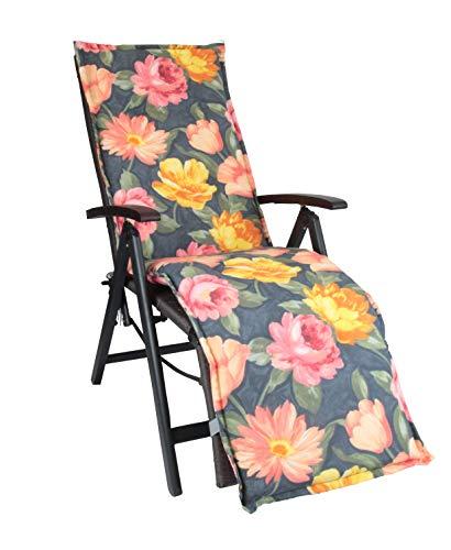 HERLAG Florence Polsterauflage für Liegestuhl (Rückenhalteband, Farbe Blumenmotiv, Füllung 100% PU Schaumstoff) mehrfarbig