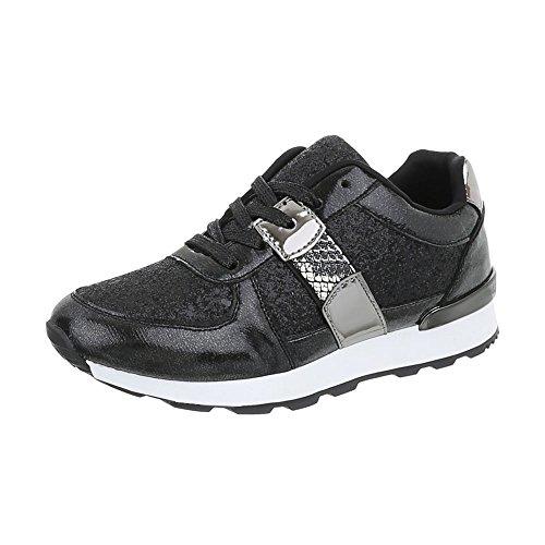 Ital-Design Sneakers Low Damen-Schuhe Sneakers Low Sneakers Schnürsenkel Freizeitschuhe Schwarz Silber, Gr 38, G-102-