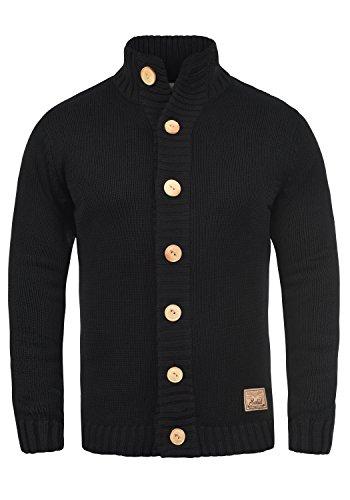 !Solid Pete Herren Strickjacke Cardigan Grobstrick mit Stehkragen aus hochwertiger Baumwollmischung, Größe:L, Farbe:Black (9000)
