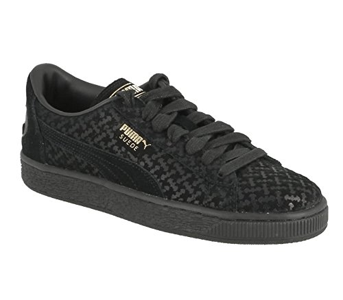 Puma Unisex-Kinder Batman Suede FM Jr Low-Top, Schwarz (Puma Black-Puma Black-Puma Team Gold 01), 36 EU