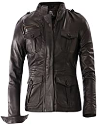 Bangla Damen Lederjacke Fashion Jacke 11450 mit Stehkragen schwarz