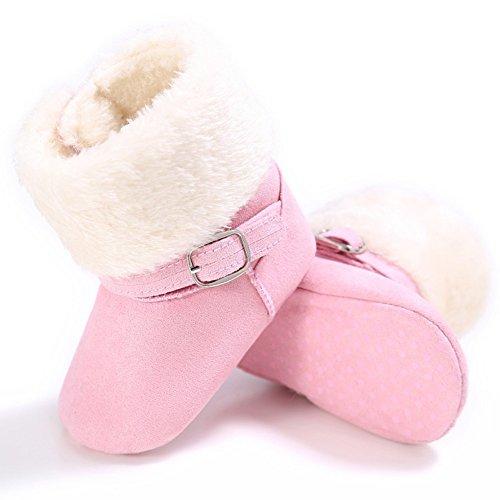 Cutelove Bambini ragazza confortevoli facile sette colori desorbimento per proteggere le scarpe scarpe baby baby prima direzione escursionisti più velluto stivali Hodan scarpe calde PU piede mat rosa2
