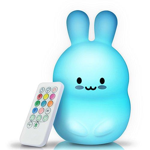 BRUNOKO [Luz de 9 Colores] - LED multicolor Lámpara infantil nocturna - USB recargable con temporizado remoto - silicona suave y lavable - lámpara infantil portátil para ir de camping o mesilla- Luz con forma animal de conejo nocturna ideal regalo quitamiedos