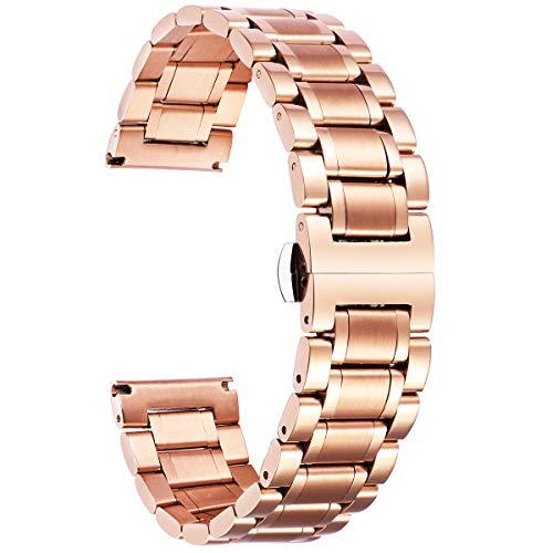 Edelstahl Uhrenarmband,Metallarmband für Herren/Damen mit geraden und gebogenen Ende (Gold,Silber,Schwarz,Roségold,Zwei Ton) - 12mm,14mm,16mm,18mm,19mm,20mm,21mm,22mm,24mm