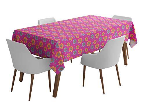 S4Sassy Rosa Primel Zebra Blumen- Party Tischwäsche waschbarer Tisch Tücher Bedruckt im Freien Esstisch-56 x 80 Zoll (Zebra Rosa Party)