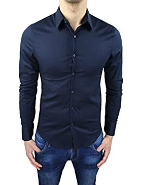 Camicia uomo sartoriale blu scuro slim fit casual elegante in cotone