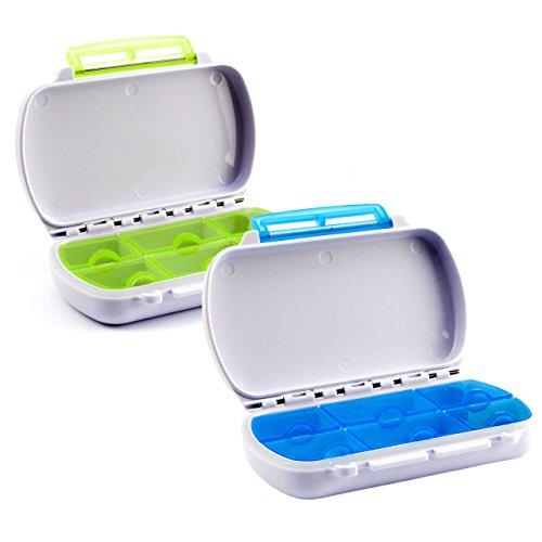 Lantelme 6759 Medikamentenbox Set 2 Stück - Wasserdicht - Kunststoff Farbe weiß/blau und grün - Tablettendosen mit je 6 Fächer