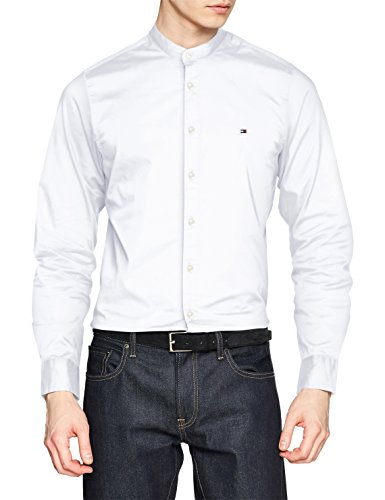 Tommy hilfiger slim stretch mandarin shirt, camicia uomo, bianco (bright white 100), medium
