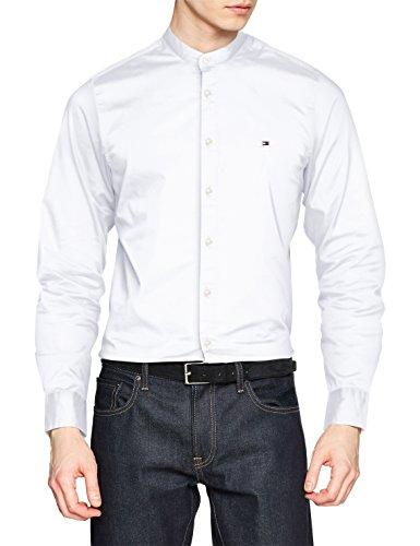 Tommy Hilfiger Herren Freizeithemd Slim Stretch Mandarin Shirt, Weiß (Bright White 100), Medium