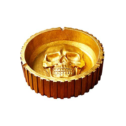 GHYhg 1 stück Aschenbecher Schädel Muster Harz Goldene Halloween Dekore Rauchen Zubehör für Bar Home Haunted House - Home Und Bar Zubehör Dekor